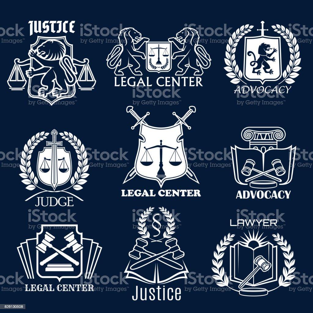 Ícones do vetor de defesa definida para advogado de justiça legal - ilustração de arte em vetor