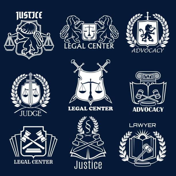 ilustrações, clipart, desenhos animados e ícones de ícones do vetor de defesa definida para advogado de justiça legal - assistente jurídico