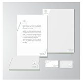 Stationery design for an advocate. Letterhead, folder, envelope and business card with logo. All design elements are layered and grouped. Eps10, contains transparent objects.
