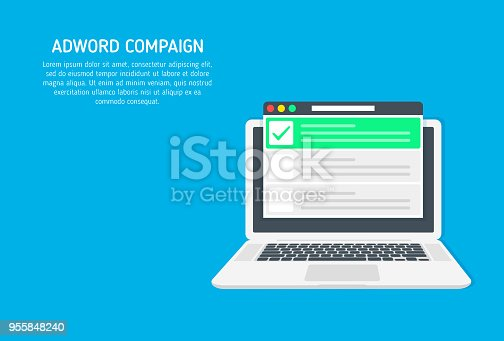 Adword campaign, Search marketing, PPC advertising banner with icons and texts. Vector concept with flat illustration for presentations and reports