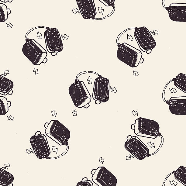 aed doodle seamless pattern background vector art illustration