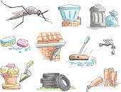 Pack of items related to Dengue transmition by Aedes Aegypti Mosquito.