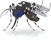 Aedes Aegypti mosquitoes mascot Stilt side