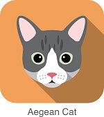 Aegean Cat, Cat breed face cartoon flat icon design