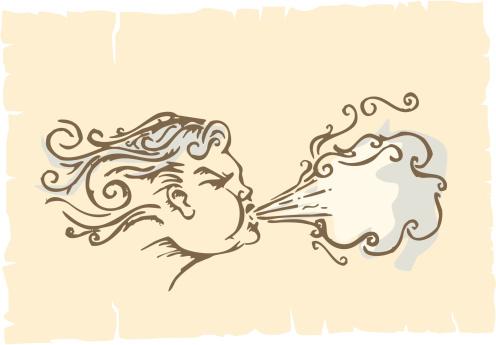 Aeolus - wind god vector illustration