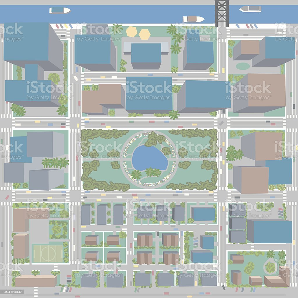 Aerial Birds Eye View of City with Buildings and Houses vector art illustration