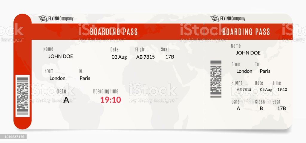 Aerial Boarding Pass Plane Ticket Design Airplane Template ...