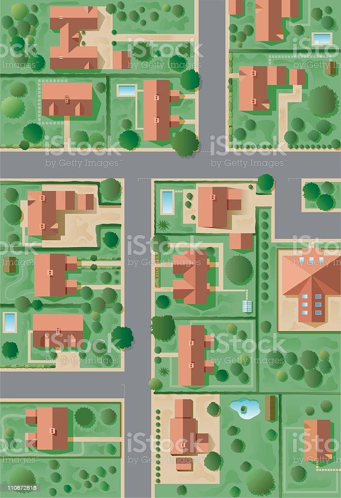 Aerial cartoon suburban neighborhood  vector art illustration