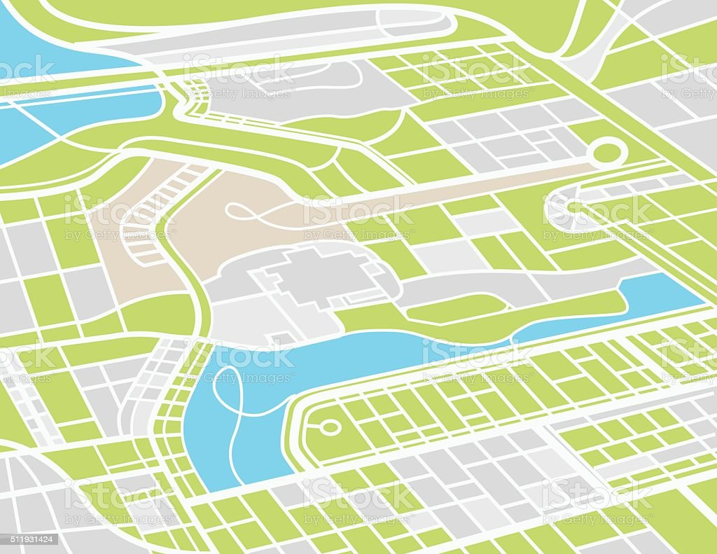 Aerial City Map vector art illustration