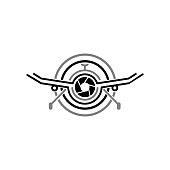 Aerial Drone Cam Photography Logo Design Template. Drone Camera Photography Technology Logo Vector Icon.