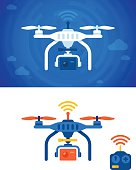 Quadcopter flat design concept illustration with remote control for wireless control. Flat design concept illustration showing view below quadcopter as it flies through the air. EPS 10 file. Transparency effects used on highlight elements.