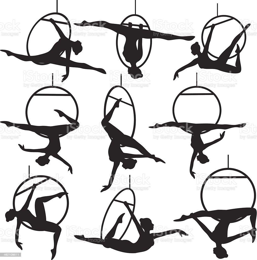 aerial hoop acrobat vector art illustration