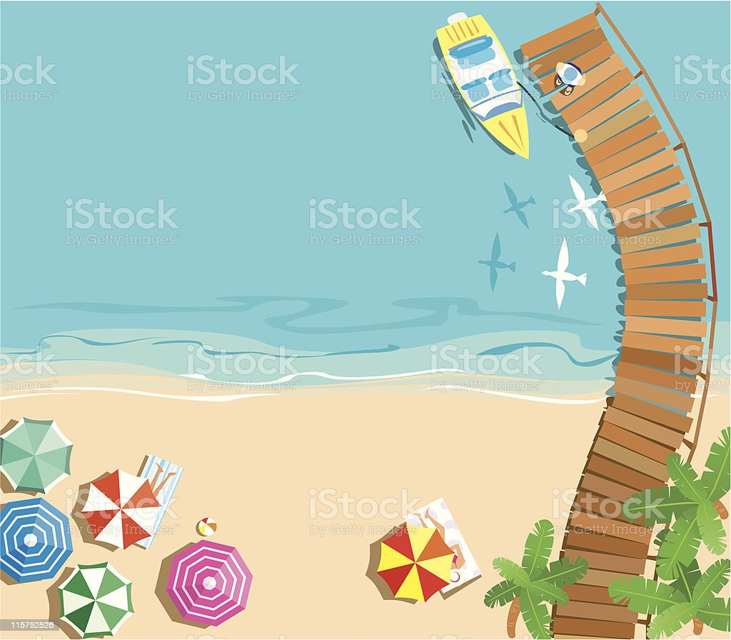 Aerial illustration of a colorful beach background vector art illustration