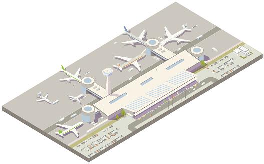 Aerial isometric airport terminal