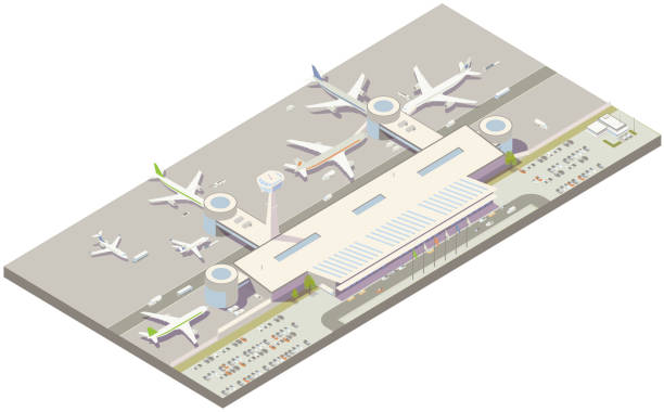 Aerial isometric airport terminal vector art illustration