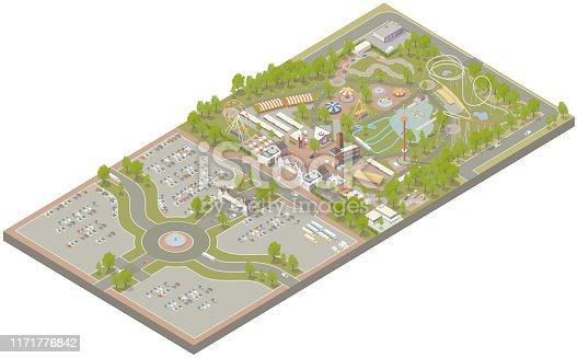 Aerial isometric illustration of an amusement park, complete with parking, roller coaster, ferris wheel, go-cart track, phloom, carousel, shopping, food concessions, free fall tower, boat rides, game tents, and other attractions located on fairgrounds or carnival grounds.