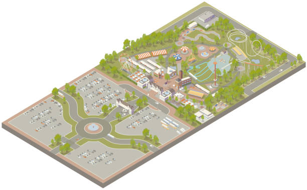 Aerial isometric amusement park vector art illustration