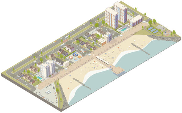 Aerial isometric beach town vector art illustration