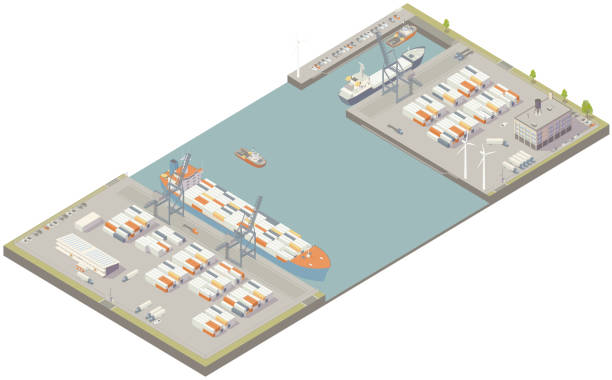 Aerial isometric cargo port vector art illustration