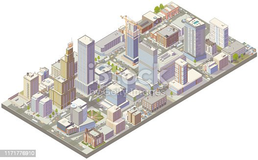 istock Aerial isometric city downtown 1171776910