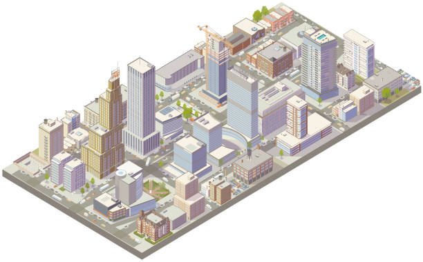 Aerial isometric city downtown vector art illustration