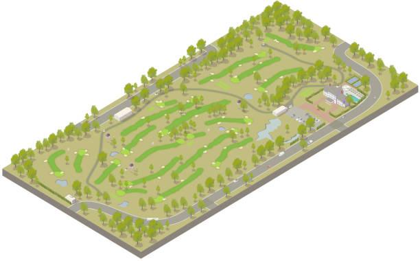 Aerial isometric golf course vector art illustration