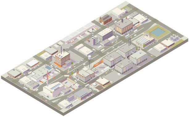 Aerial isometric industrial zone vector art illustration