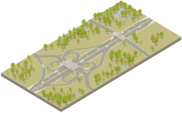 Aerial isometric interstate highway vector art illustration