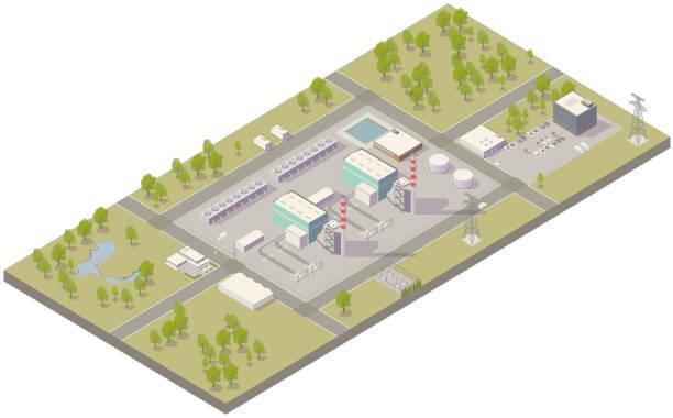 Aerial isometric power plant vector art illustration