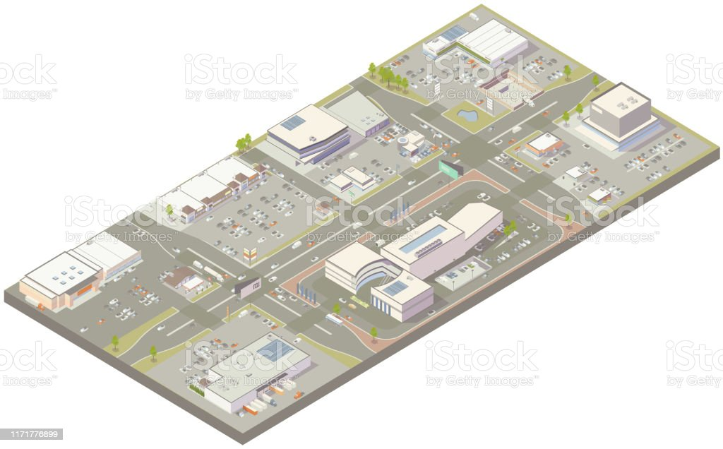Aerial isometric retail zone Aerial isometric illustration of a low-density retail zone with parking, a shopping mall, strip malls, big-box store, fast food, auto dealership, multi-lane roads, traffic, billboards, and other details. Aerial View stock vector