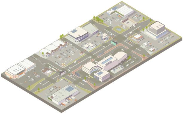 Aerial isometric retail zone vector art illustration