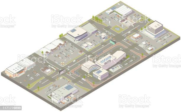 Aerial Isometric Retail Zone Stock Illustration - Download Image Now