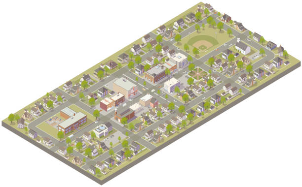 Aerial isometric small town vector art illustration