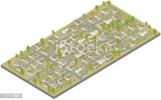 Aerial isometric illustration of a suburban development, complete with post-war ranch style tract houses, curved streets, cul-de-sacs, driveways, and other details.
