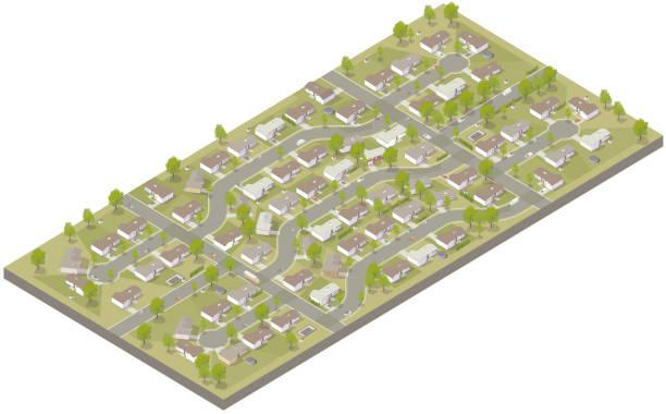 Aerial isometric suburban development vector art illustration