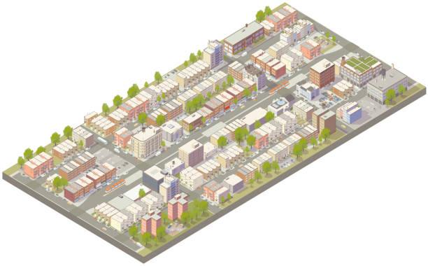Aerial isometric urban neighborhood vector art illustration