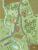 Top down view of a slice of rural landscape. Purely imaginary, could be just about anywhere. Houses, trees, roads, fields with crops, river, stream, hedges,paths,tracks etc etc, all packed with detail. 5 layers aid editing.  [IMG]http://i79.photobucket.com/albums/j141/johnwoodcock/Landscapedetailcopy.jpg[/IMG] Please view my vector landscapes lightbox for similar files [url]http://www.istockphoto.com/file_search.php?action=file&lightboxID=3390977[/url]