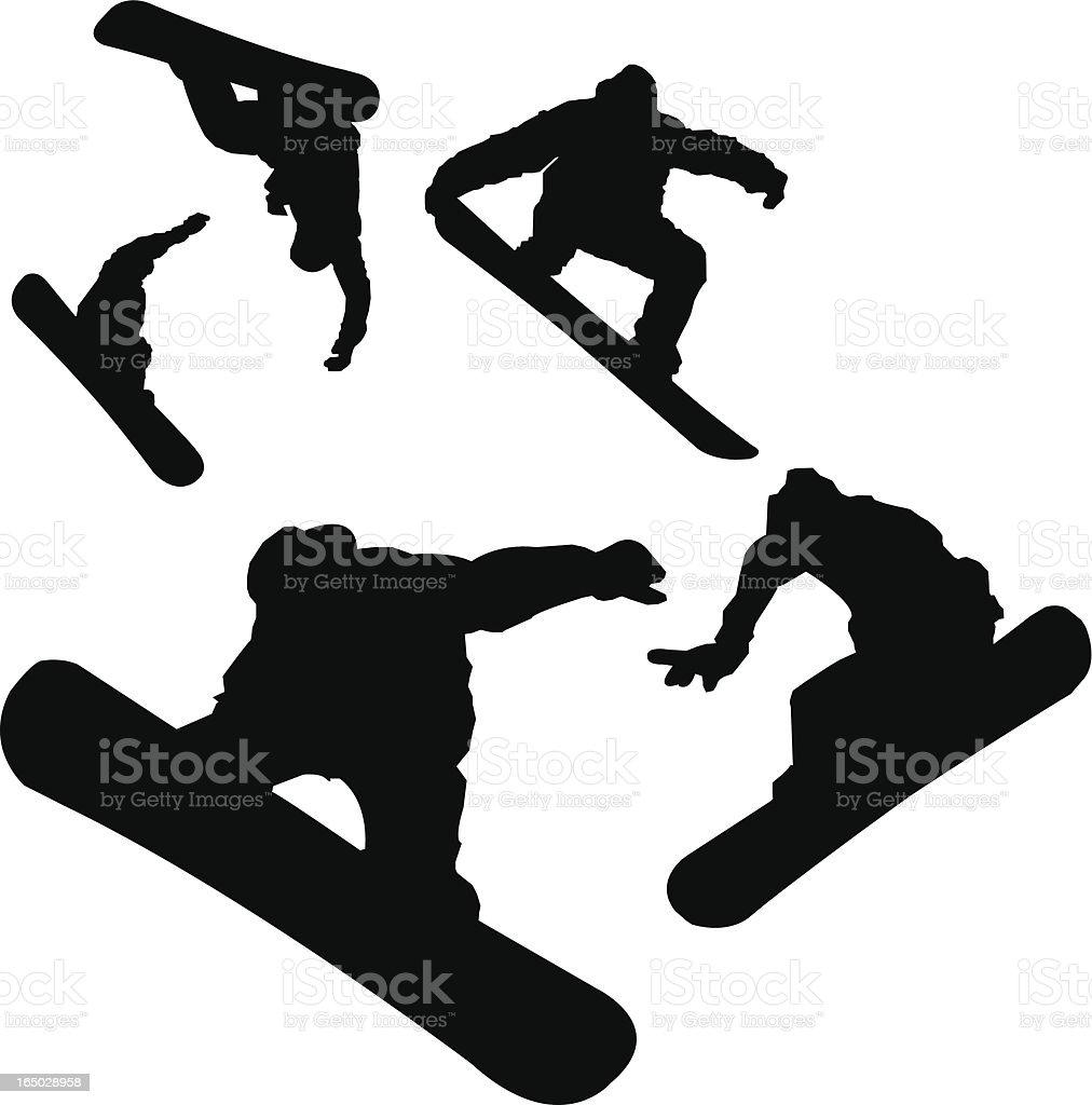 Aerial Snowboarder vector art illustration