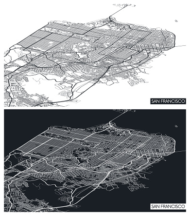 Aerial top view city map San Francisco, black and white detailed plan, urban grid in perspective, vector illustration