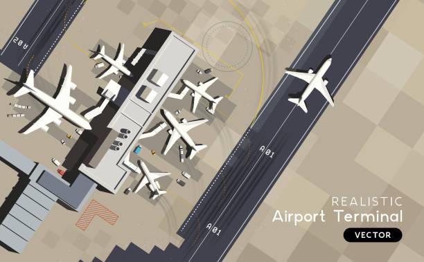 Luftaufnahme-Flughafenterminal mit Start-und Landebahn und Flugzeugen – Vektorgrafik