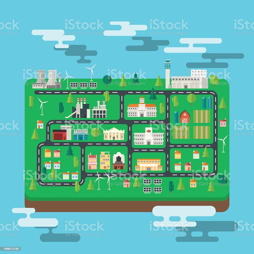 Aerial view city map on an island vector art illustration
