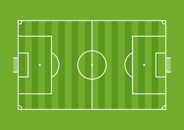 aerial view of a soccer field drawn with white line on green background - alejomiranda stock illustrations