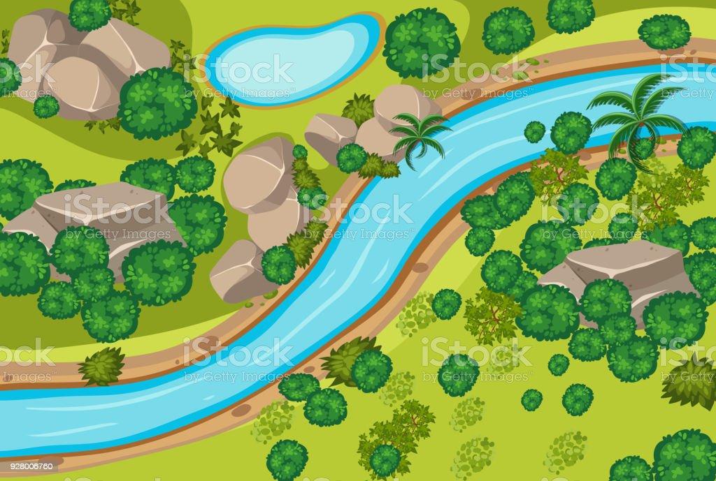 Luftbild von Wald und Fluss – Vektorgrafik