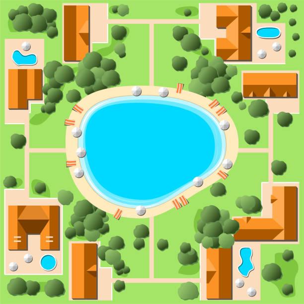 湖のビーチとリゾート空撮 - 森林 俯瞰点のイラスト素材/クリップアート素材/マンガ素材/アイコン素材