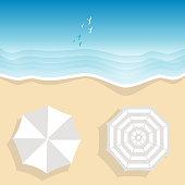 Aerial view of sea beach with two beach umbrellas, cartoon style