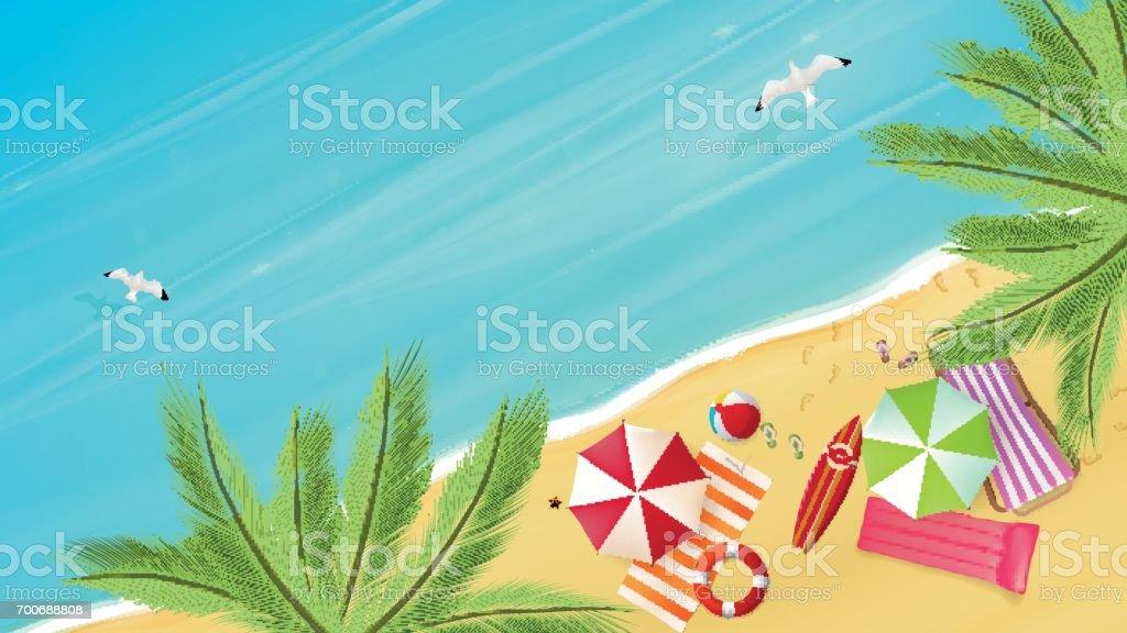 Vista aérea da praia de verão em estilo de vetor fotorrealista. - ilustração de arte em vetor