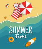 Aerial view of summer beach. Background template with text summer time. Vacation on the tropical seaside. Holiday on sea sand. Concept for poster and other promotional material. Vector illustration.