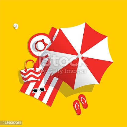 Red beach umbrella. Aerial view of summer beach. Holiday on sea sand.