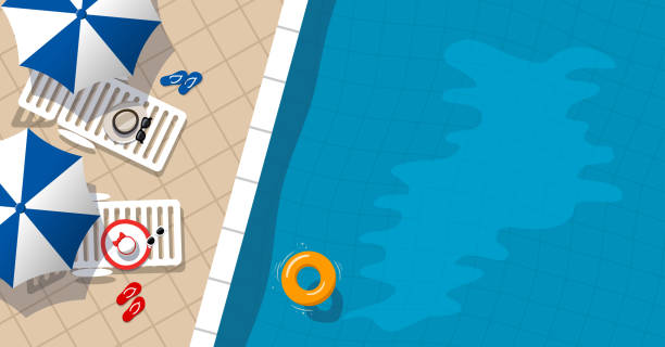 Aerial view of swimming pool Aerial view of swimming pool. Water ring and umbrella lounger. Vector illustration in flat style. pool party stock illustrations