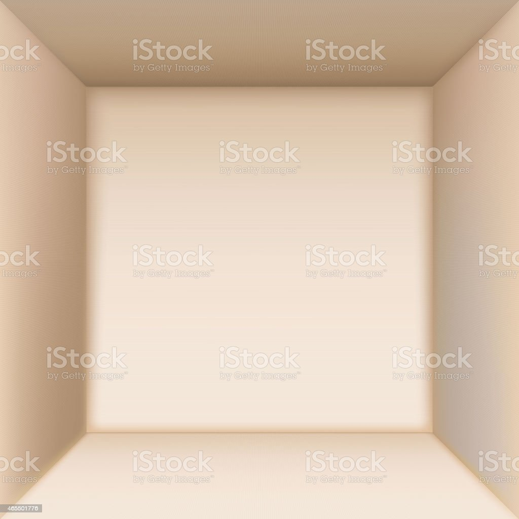 Aerial view of the inside of a box isolated on white  vector art illustration